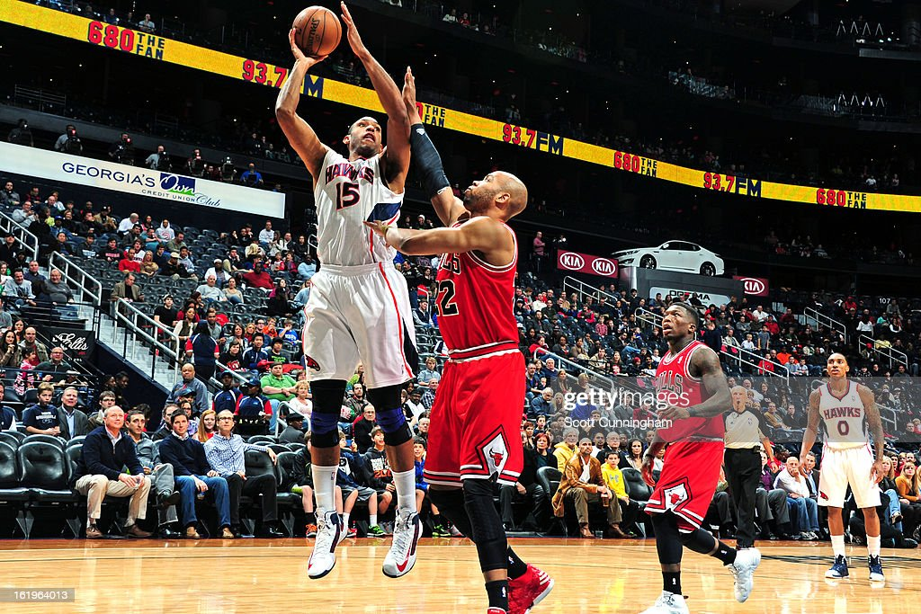 Al Horford #15 of the Atlanta Hawks puts up a shot against the Chicago Bulls on February 2, 2013 at Philips Arena in Atlanta, Georgia.