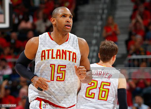 Al Horford of the Atlanta Hawks rushes back on defense after hitting a threepoint basket against the Boston Celtics in Game Two of the Eastern...