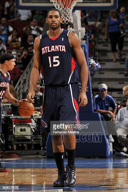 Al Horford of the Atlanta Hawks stands on the court during the preseason game against the Orlando Magic on October 23 2009 at Amway Arena in Orlando...