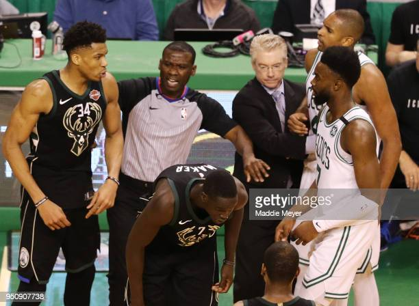 Al Horford of the Boston Celtics and Giannis Antetokounmpo of the Milwaukee Bucks are separated during the fourth quarter in Game Five in Round One...