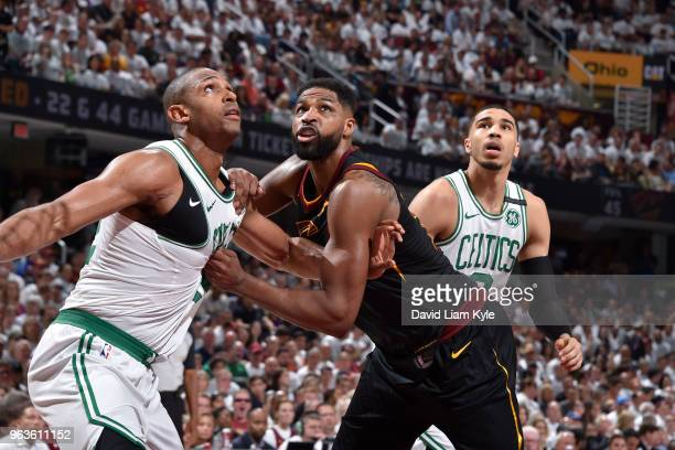 Al Horford of the Boston Celtics and Tristan Thompson of the Cleveland Cavaliers battle for position in Game Six of the Eastern Conference Finals of...