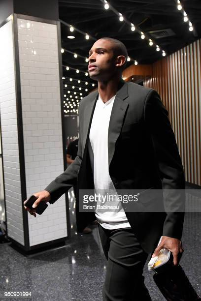 Al Horford of the Boston Celtics arrives to the arena prior to Game Five of Round One of the 2018 NBA Playoffs against the Milwaukee Bucks on April...