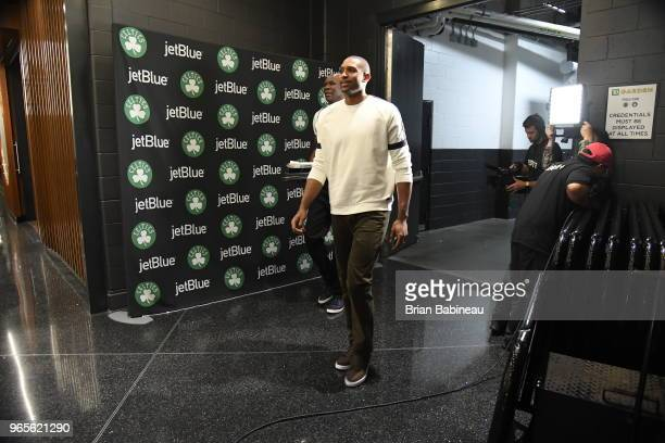Al Horford of the Boston Celtics arrives to the arena prior to Game Seven of the Eastern Conference Finals of the 2018 NBA Playoffs between the...