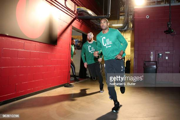 Al Horford of the Boston Celtics before Game Six of the Eastern Conference Finals against the Cleveland Cavaliers the 2018 NBA Playoffs on May 25...