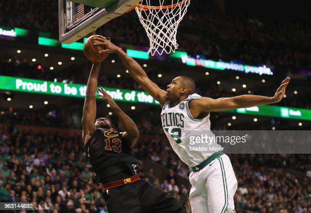 Al Horford of the Boston Celtics blocks a shot by Tristan Thompson of the Cleveland Cavaliers in the first half during Game Seven of the 2018 NBA...