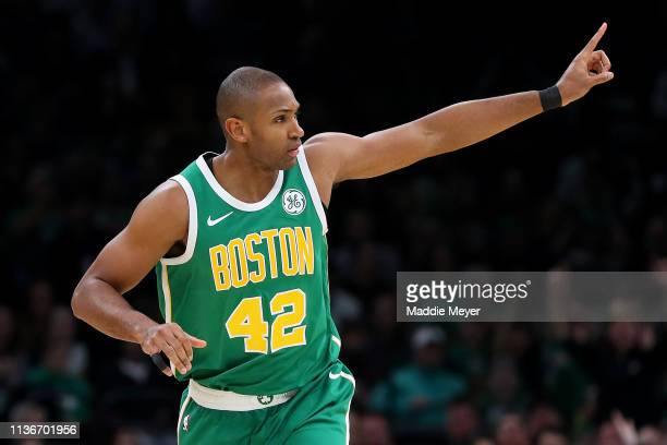 Al Horford of the Boston Celtics celebrates after scoring against the Denver Nuggets during the second quarter at TD Garden on March 18 2019 in...