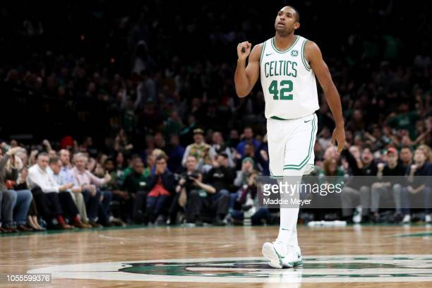Al Horford of the Boston Celtics celebrates during the second half against the Detroit Pistons at TD Garden on October 30 2018 in Boston...