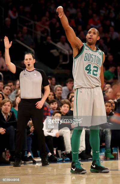 Al Horford of the Boston Celtics celebrates his shot in the second half against the New York Knicks at Madison Square Garden on February 242018 in...