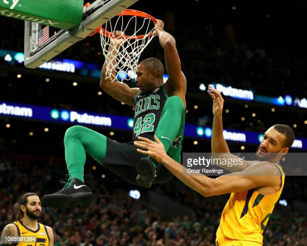 Al Horford of the Boston Celtics dunks a rebound during the second quarter of the game against the Utah Jazz at TD Garden on November 17 2018 in...