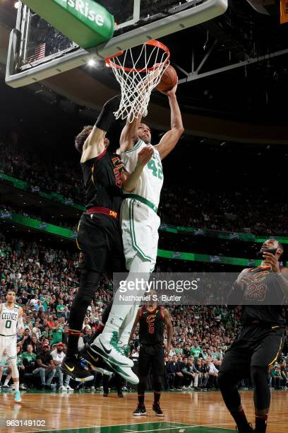 Al Horford of the Boston Celtics dunks against the Cleveland Cavaliers during Game Seven of the Eastern Conference Finals of the 2018 NBA Playoffs on...
