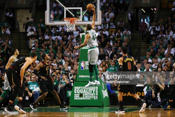 Al Horford of the Boston Celtics dunks during a game against the Cleveland Cavaliers at TD Garden on February 11 2018 in Boston Massachusetts NOTE TO...
