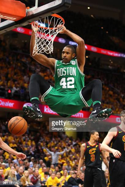 Al Horford of the Boston Celtics dunks in the fourth quarter against the Cleveland Cavaliers during Game Four of the 2018 NBA Eastern Conference...