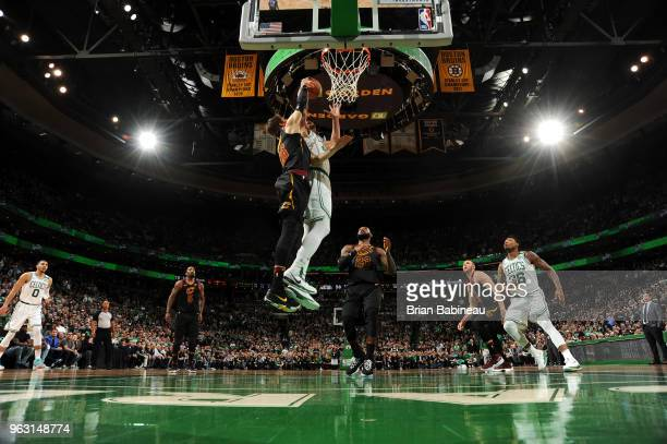 Al Horford of the Boston Celtics dunks the ball during Game Seven of the Eastern Conference Finals of the 2018 NBA Playoffs between the Cleveland...