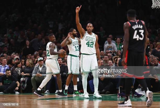 Al Horford of the Boston Celtics gestures during the second half against the Toronto Raptors at TD Garden on November 16 2018 in Boston Massachusetts