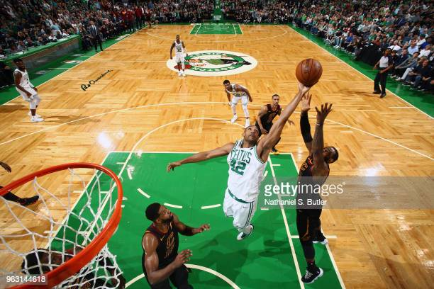 Al Horford of the Boston Celtics grabs the rebound against the Cleveland Cavaliers during Game Seven of the Eastern Conference Finals of the 2018 NBA...
