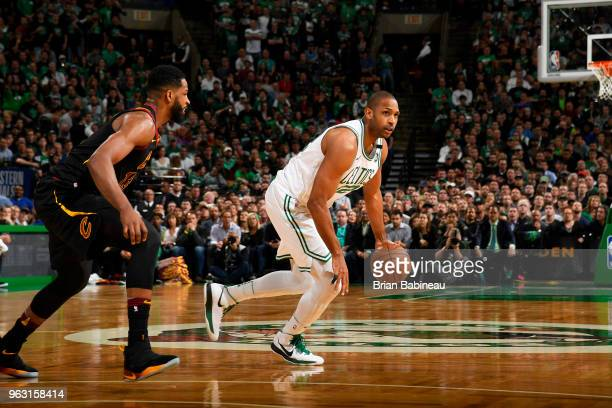 Al Horford of the Boston Celtics handles the ball against the Cleveland Cavaliers during Game Seven of the Eastern Conference Finals of the 2018 NBA...