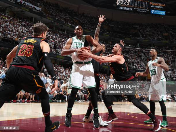 Al Horford of the Boston Celtics handles the ball against the Cleveland Cavaliers during Game Six of the Eastern Conference Finals of the 2018 NBA...
