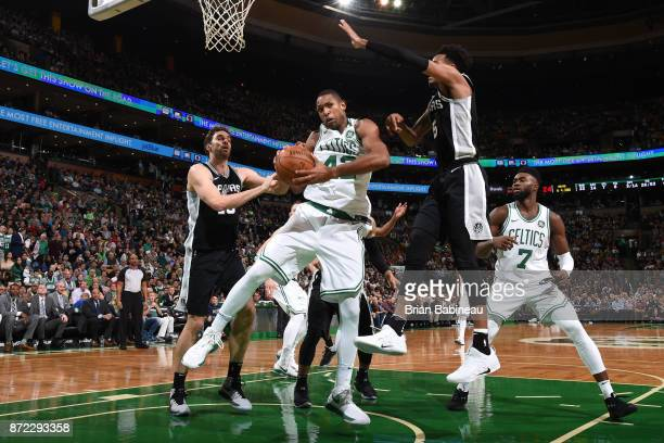 Al Horford of the Boston Celtics handles the ball against the San Antonio Spurs on October 30 2017 at the TD Garden in Boston Massachusetts NOTE TO...