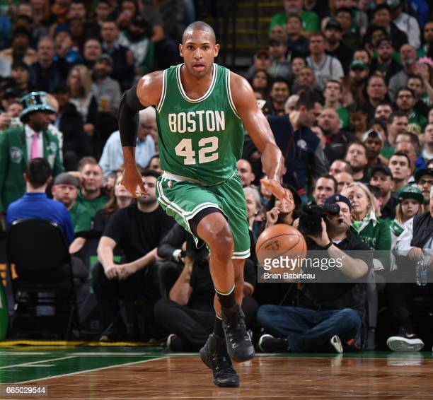 Al Horford of the Boston Celtics handles the ball against the Cleveland Cavaliers during the game on April 5 2017 at the TD Garden in Boston...