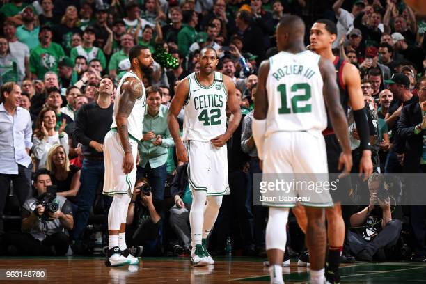 Al Horford of the Boston Celtics looks on during Game Seven of the Eastern Conference Finals of the 2018 NBA Playoffs between the Cleveland Cavaliers...