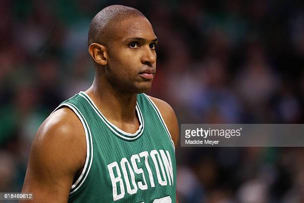 Al Horford of the Boston Celtics looks on during the second quarter against the Brooklyn Nets at TD Garden on October 26 2016 in Boston Massachusetts...