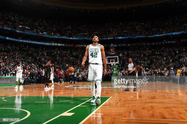 Al Horford of the Boston Celtics looks on in the 4th quarter during Game Seven of the Eastern Conference Finals of the 2018 NBA Playoffs between the...