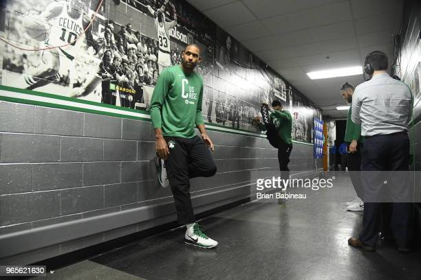 Al Horford of the Boston Celtics looks on prior to Game Seven of the Eastern Conference Finals of the 2018 NBA Playoffs between the Cleveland...