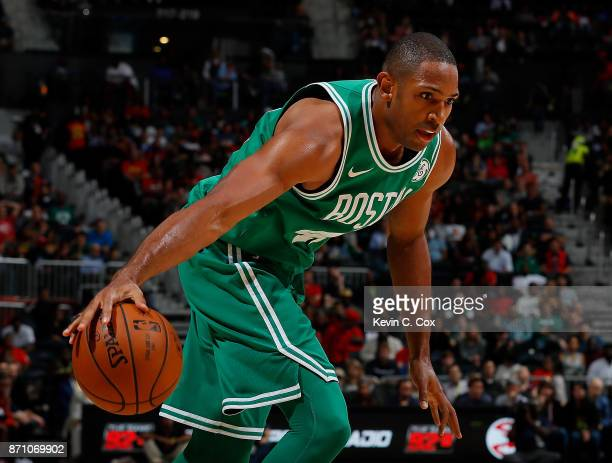 Al Horford of the Boston Celtics looks to drives against the Atlanta Hawks at Philips Arena on November 6 2017 in Atlanta Georgia NOTE TO USER User...