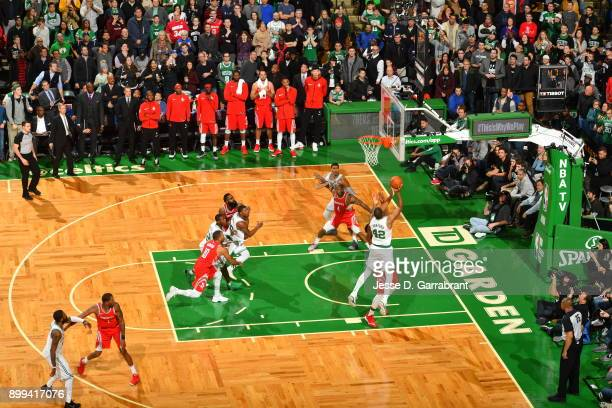 Al Horford of the Boston Celtics puts up the game winning shot during the game against the Houston Rockets on December 28 2017 at the TD Garden in...