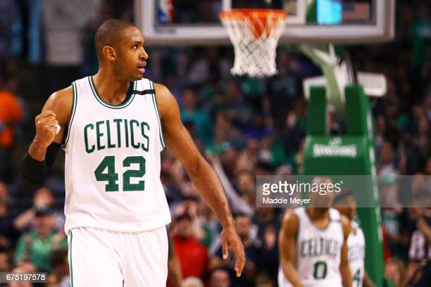 Al Horford of the Boston Celtics reacts during the fourth quarter of Game One of the Eastern Conference Semifinals against the Washington Wizards at...