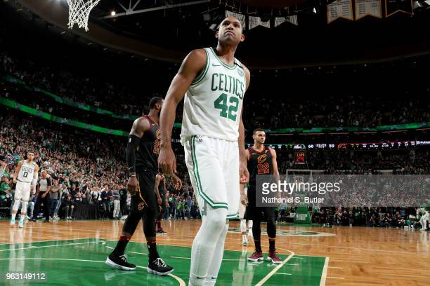 Al Horford of the Boston Celtics reacts during the game against the Cleveland Cavaliers during Game Seven of the Eastern Conference Finals of the...
