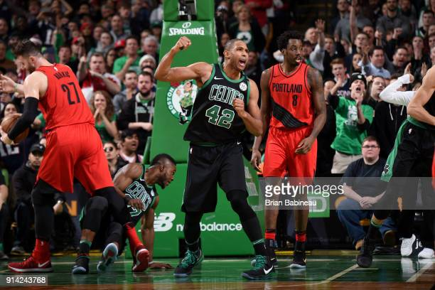 Al Horford of the Boston Celtics reacts to a play during the game against the Portland Trail Blazers on February 4 2018 at the TD Garden in Boston...