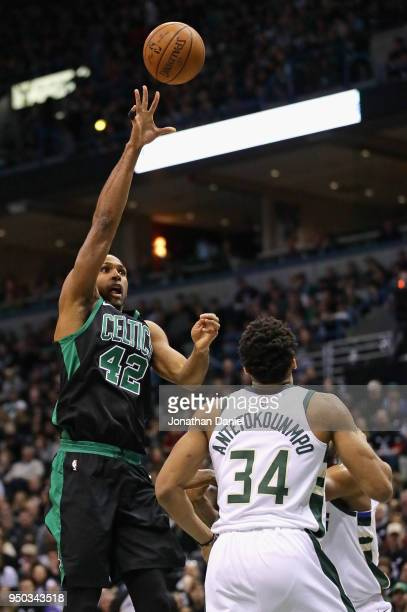 Al Horford of the Boston Celtics shoots over Giannis Antetokounmpo of the Milwaukee Bucks during Game Four of Round One of the 2018 NBA Playoffs at...