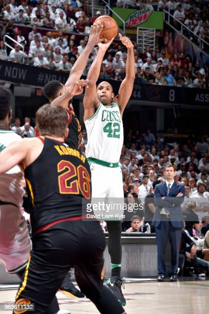 Al Horford of the Boston Celtics shoots the ball against the Cleveland Cavaliers in Game Six of the Eastern Conference Finals of the 2018 NBA...