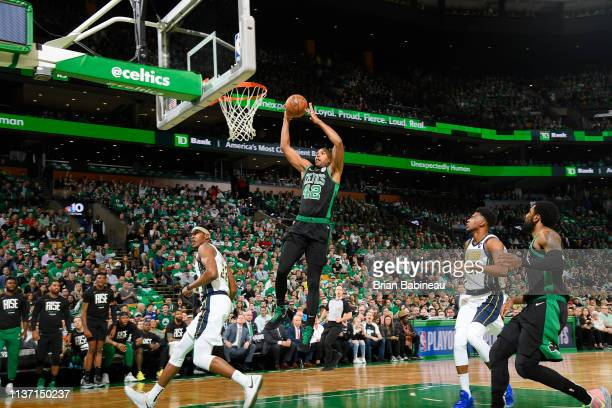 Al Horford of the Boston Celtics shoots the ball against the Indiana Pacers during Game One of Round One of the 2019 NBA Playoffs on April 14 2019 at...
