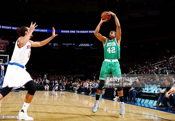 Al Horford of the Boston Celtics shoots the ball against the New York Knicks on October 15 2016 at Madison Square Garden in New York City New York...