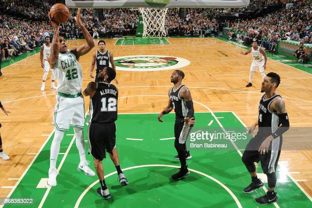 Al Horford of the Boston Celtics shoots the ball against the San Antonio Spurs on October 30 2017 at the TD Garden in Boston Massachusetts NOTE TO...