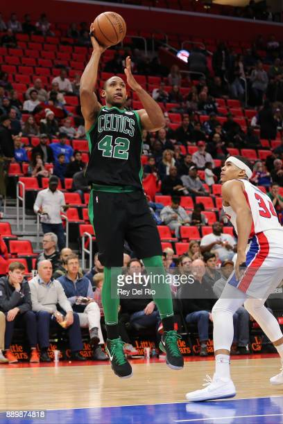 Al Horford of the Boston Celtics shoots the ball during the game against the Detroit Pistons at Little Caesars Arena on December 10 2017 in Detroit...