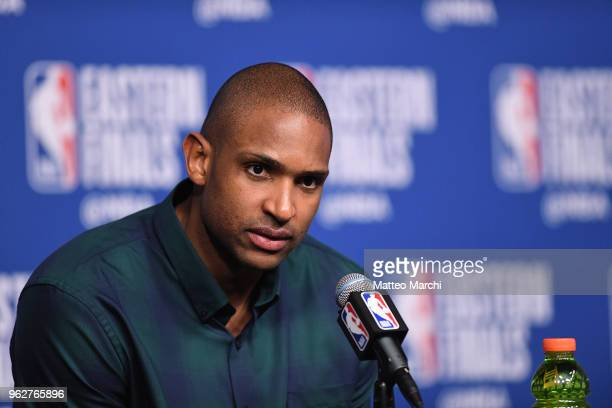 Al Horford of the Boston Celtics talks to the media following Game Five of the 2018 NBA Eastern Conference Finals against the Cleveland Cavaliers on...