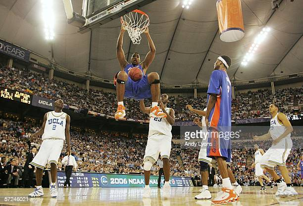 Al Horford of the Florida Gators slam dunks the ball against the UCLA Bruins in the second half during the National Championship game of the NCAA...