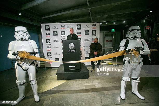 Al Hovarth and Billy Dee Williams at Star Wars and the Power of Costume opening exhibit at EMP Museum at Seattle Center on January 30 2015 in Seattle...