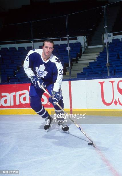 Al Iafrate of the Toronto Maple Leafs poses for a portrait before an NHL game against the New York Islanders on December 18 1990 at the Nassau...