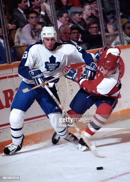 Al Iafrate of the Toronto Maple Leafs skates against Bill Houlder of the Washington Capitals during NHL game action January 8 1990 at Maple Leaf...