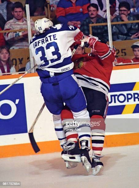 Al Iafrate of the Toronto Maple Leafs skates against the Chicago Black Hawks during NHL game action on December 23 1989 at Maple Leaf Gardens in...