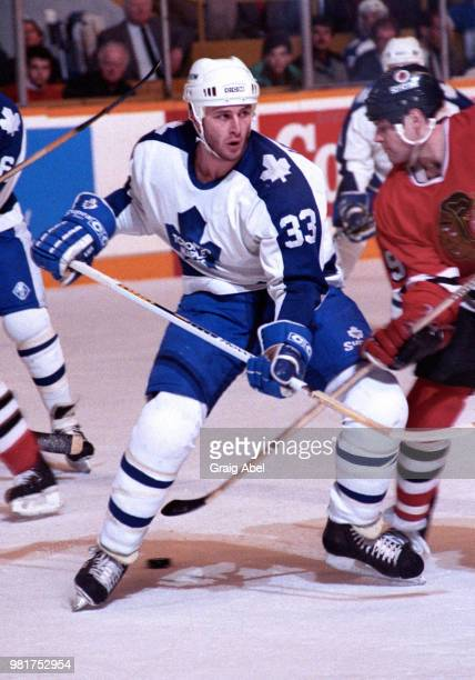 Al Iafrate of the Toronto Maple Leafs skates against the Chicago Black Hawks during NHL game action on March 19 1990 at Maple Leaf Gardens in Toronto...