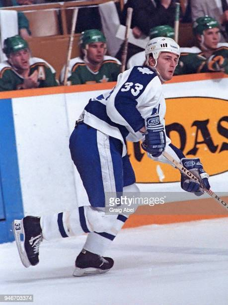 Al Iafrate of the Toronto Maple Leafs skates against the Minnesota North Stars during NHL game action on March 29 1989 at Maple Leaf Gardens in...