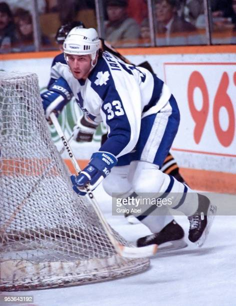 Al Iafrate of the Toronto Maple Leafs skates against the Pittsburgh Penguins during NHL game action on December 21 1988 at Maple Leaf Gardens in...