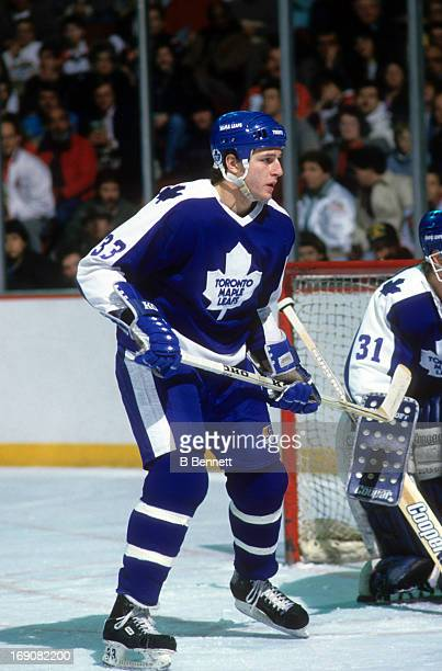 Al Iafrate of the Toronto Maple Leafs skates on the ice during an NHL game against the Philadelphia Flyers on February 4 1988 at the Spectrum in...