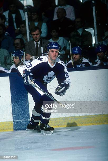 Al Iafrate of the Toronto Maple Leafs skates on the ice during an NHL game against the New York Islanders on January 24 1985 at the Nassau Coliseum...