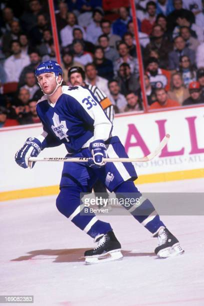 Al Iafrate of the Toronto Maple Leafs skates on the ice during an NHL game against the Philadelphia Flyers on November 9 1989 at the Spectrum in...
